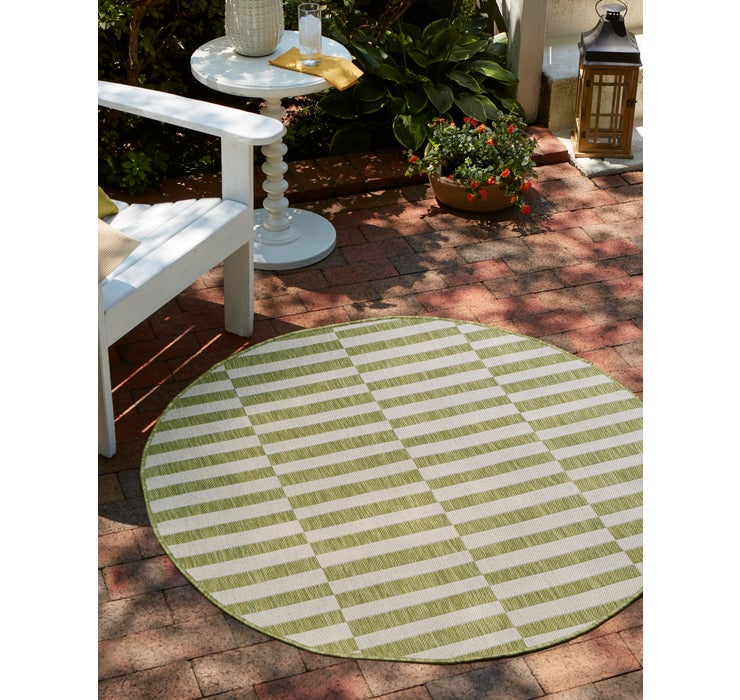 4' x 4' Outdoor Striped Round Rug