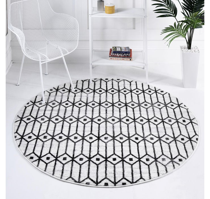 100cm x 100cm Lattice Trellis Round Rug