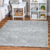 5' x 5' Soft Solid Shag Square Rug thumbnail