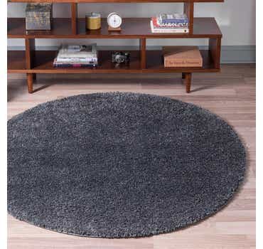 Image of  Smoke Gray Soft Solid Shag Round Rug