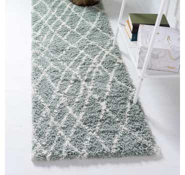 Image of  Sage Green Soft Touch Shag Runner ...