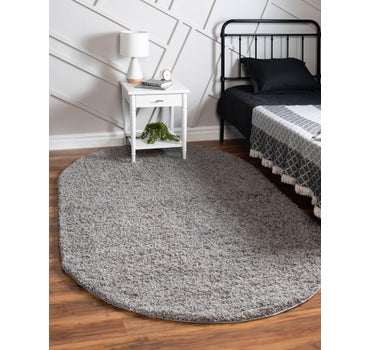 8' x 10' Solid Shag Oval Rug main image