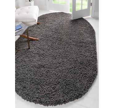 4' x 6' Solid Shag Oval Rug main image