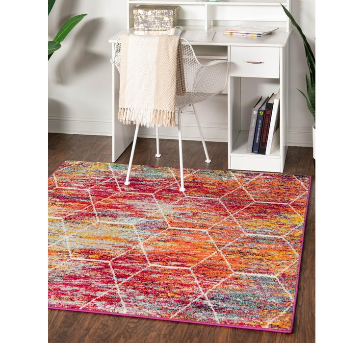 3' x 3' Trellis Frieze Square Rug