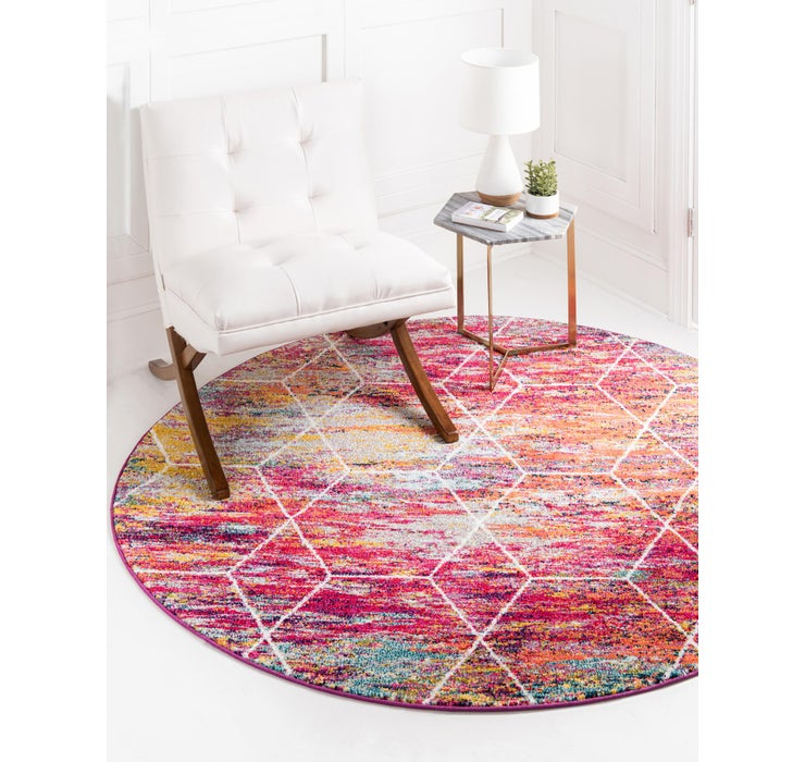 7' x 7' Trellis Frieze Round Rug