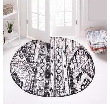 Black and White Oregon Round Rug
