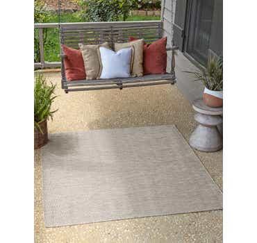 Light Gray Outdoor Basic Square Rug