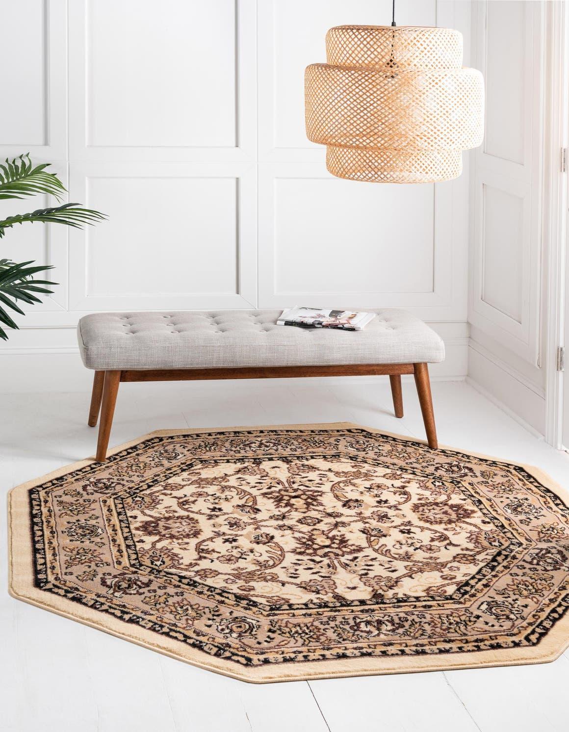 8' x 8' Kashan Design Octagon Rug main image
