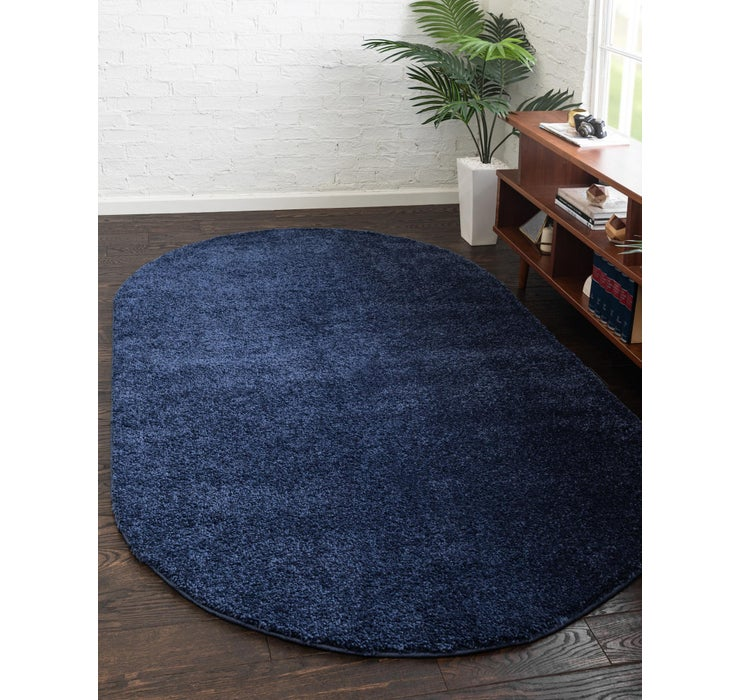 5' x 8' Solid Frieze Oval Rug