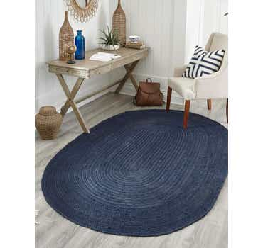 Navy Blue Braided Jute Oval Rug