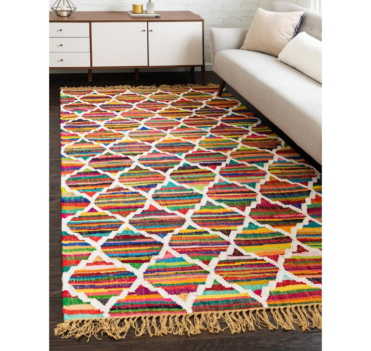 Image of 7' x 10' Chindi Trellis Rug
