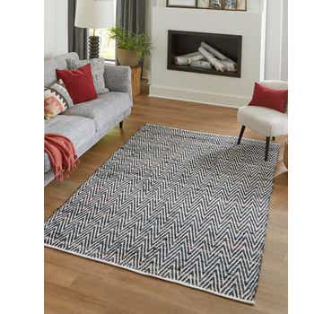 Image of  Black and White Chindi Chevron Rug