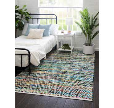 Image of  Green Chindi Chevron Rug