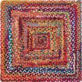 3' 3 x 3' 3 Braided Chindi Square Rug thumbnail