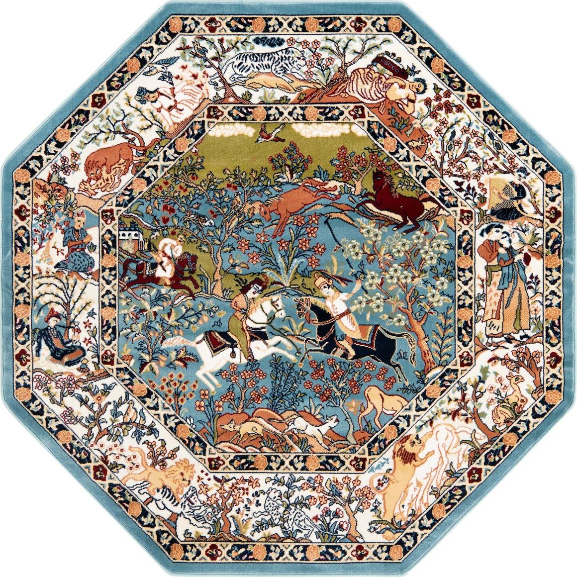 5' x 5' Nain Design Octagon Rug main image