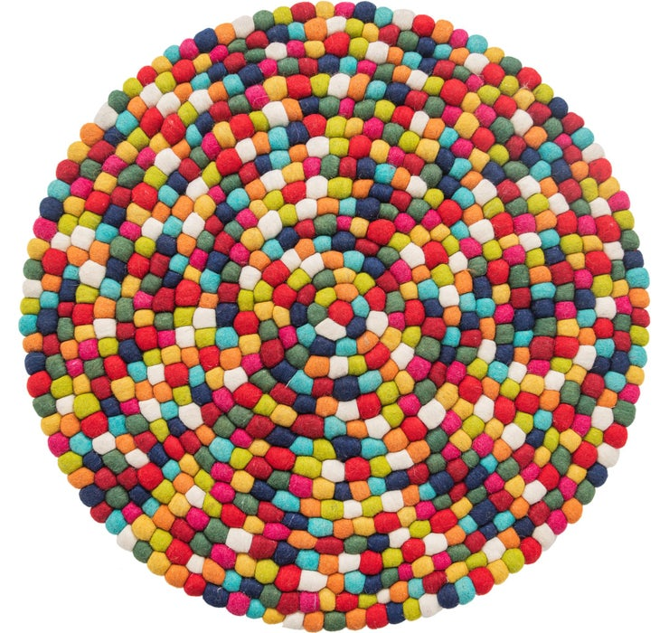 100cm x 100cm Felt Ball Round Rug