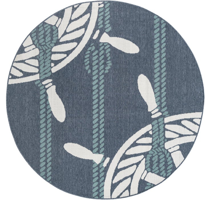 213cm x 213cm Outdoor Coastal Round Rug