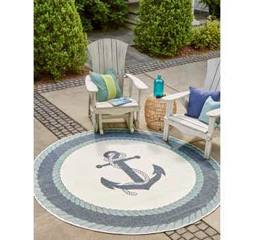 7' x 7' Outdoor Coastal Round Rug