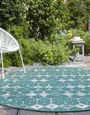 7' 10 x 10' Outdoor Trellis Oval Rug thumbnail