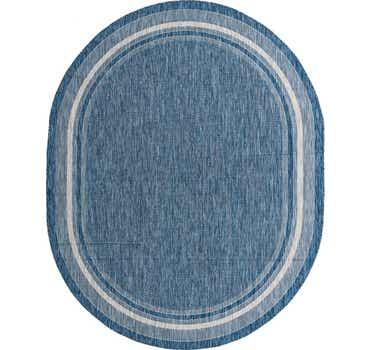 Blue Outdoor Border Oval Rug