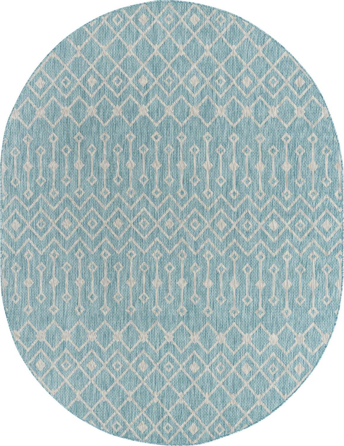 7' 10 x 10' Outdoor Lattice Oval Rug main image