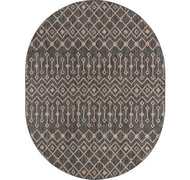 Charcoal Gray Outdoor Lattice Oval Rug