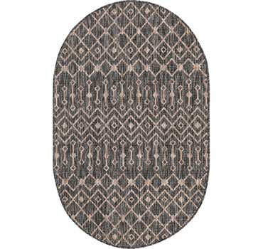 Image of  Charcoal Gray Outdoor Lattice Oval Rug