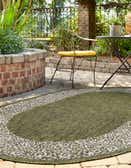 5' 3 x 8' Outdoor Border Oval Rug thumbnail