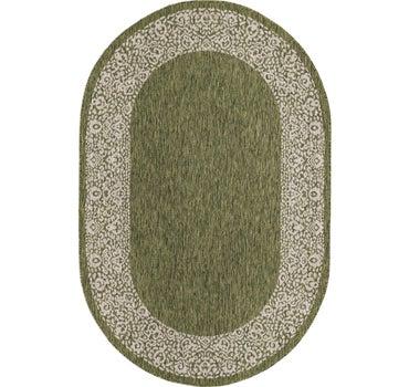5' 3 x 8' Outdoor Border Oval Rug main image