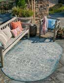 100cm x 160cm Outdoor Aztec Oval Rug thumbnail
