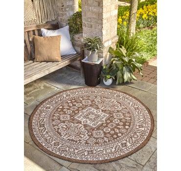 3' 3 x 3' 3 Outdoor Aztec Round Rug