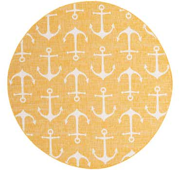 7' 10 x 7' 10 Outdoor Coastal Round Rug