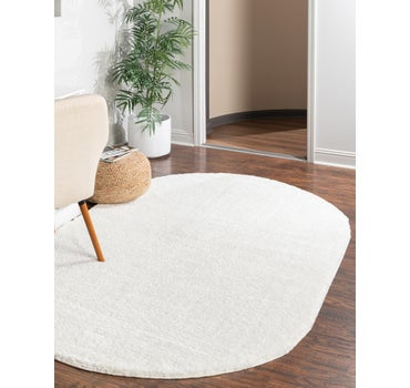 5' x 8' Solid Frieze Oval Rug main image