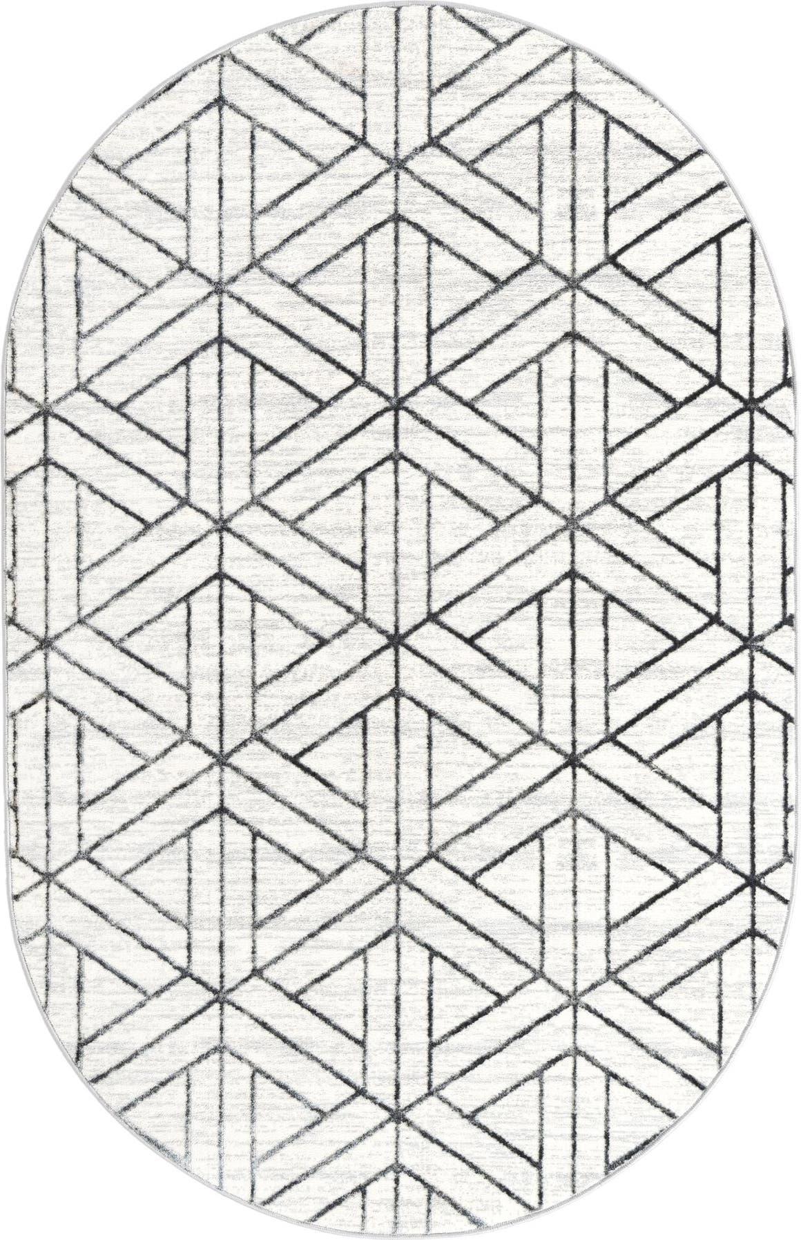 5' 3 x 8' Lattice Trellis Oval Rug main image