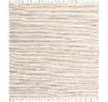 Natural-White Chindi Jute Square Rug