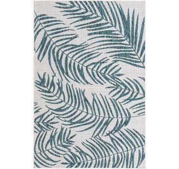 Teal.Ivory Outdoor Botanical Rug